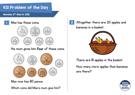 white rose maths ks1 problems of the day 2018 by wrmaths teaching resources. Black Bedroom Furniture Sets. Home Design Ideas