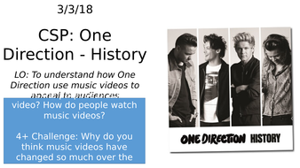 One Direction History CSP - AQA GCSE Media Studies - Music Video Close  Study Product