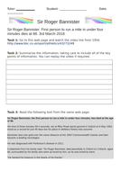 Roger Bannister English Comprehension