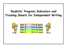 WRITING 'Progress Indicators' and 'Tracking Sheets'  (Year 3 to Year 6)