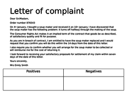 writing a formal letter of complaint non fiction structure by