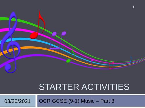 OCR GCSE (9-1) Music Listening Starters Part 3