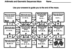 Arithmetic and Geometric Sequences: Math Maze by