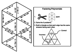Factoring Polynomials Game: Math Tarsia Puzzle