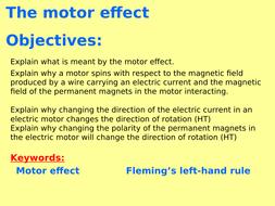 New AQA P7 3 (New Physics GCSE spec 4 7 - exams 2018) - The motor effect +  Fleming's left-hand rule