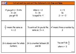 Algebra True or False Cards - Free Mastery Resource