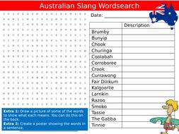 Australian Slang Wordsearch Sheet Australia Starter Activity Keywords KS3 GCSE Cover