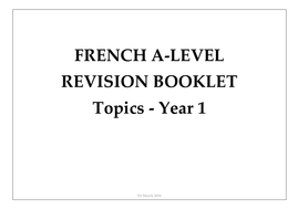 Revision Booklet for A Level / AS Level French oral  (Edexcel) Year 1