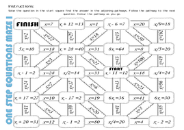 Solving One Step Equations Mazes Positive Integers By Missehoney