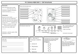 AQA Biology Revision 7 Mats/Grids- Unit 1 Cells, Plant