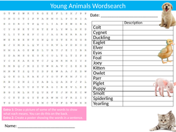 Young Baby Animals Wordsearch Sheet Starter Activity Keywords Cover Nature