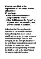 GCSE 9-1 Lord of flies Exemplar Grade 9 essay Beast