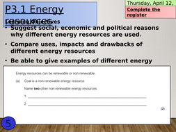 KS4 P3.1 Energy Resources by DinosaurLaboratory - Teaching Resources ...