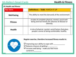 EXAM TECHNIQUE - AQA GCSE PE - Health & Fitness 3.2.3 smart cards -1st time teach OR REVISION!!