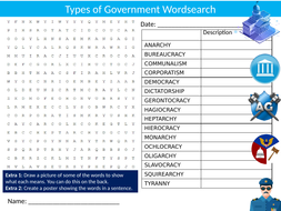 Types of Government Wordsearch Sheet Starter Activity Keywords Cover Politics Elections
