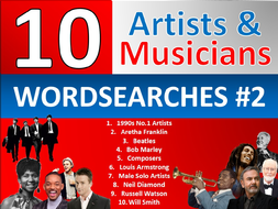 10 x Musicians Wordsearch Sheet Starter Activity Keywords Cover Music Artists Singers