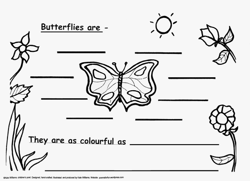 Butterfly Picture-Poem Frame, EYFS/Y1 + Guidance Notes