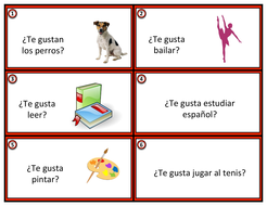 Gustar Task Cards in Spanish: ¿Te gusta.....?