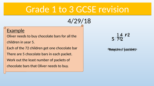 General GCSE Maths grade 1 to 3 revision