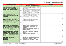 Edexcel physics (H & F) paper 2 knowledge linked to exam specification  criteria
