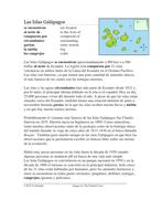 Las Islas Galápagos Lectura y Cultura: Spanish Reading on the Galapagos Islands