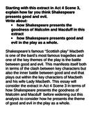 Grade 9 Macbeth exemplar essay Act IV Scene III Malcom Macduff