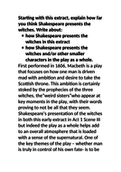Grade 9 exemplar Macbeth essay Witches