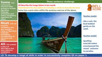 Language paper 1 Question 5 creative writing: paradise
