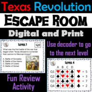 Texas Revolution: Escape Room - Social Studies