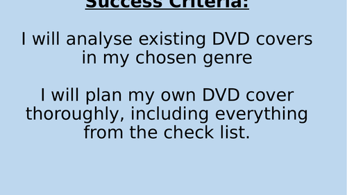 EDUQAS GCSE MEDIA STUDIES COMPONENT 3 COURSEWORK DVD COVERS AND FILM POSTERS LESSON PACK