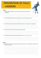 Prevention of falls - Ladders