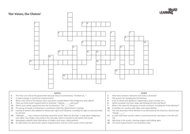 Civics and Citizenship Crossword - Our Voices, Our Choices
