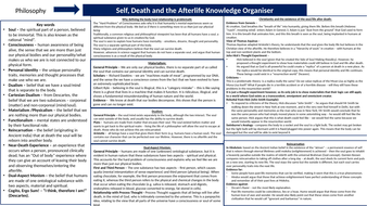 Self, Death & Afterlife Knowledge Organiser A level RE Revision (AQA)