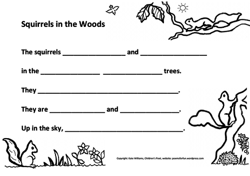 Squirrels in Woods - Writing, Ys 2+3, guided.