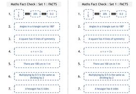 Maths fact tests : Half Term 1