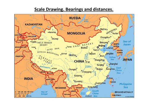 Bearings and distances.  With answers. Scale Drawing. China.