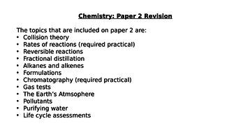 Chemistry Paper 2 Revision (AQA 9-1 New Specification)