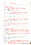 Indices hint sheets