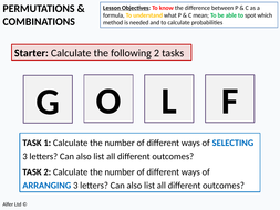Statistics: Probability 6 - Permutations and Combinations 1 - An  Introduction (+ resources)
