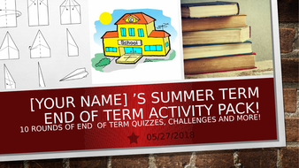 10 End of Term Games Activities Quizzes