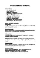 AQA GCSE ECONOMICS DOMINANT FIRMS REVISION NOTES
