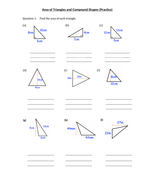 Area of Triangle and Compound Shapes- Year 8 by nazish