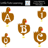 Thanksgiving Turkey Alphabet & Numbers Clip Art - Alphabet Letters & Numbers - Commercial Use