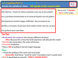 AQA GCSE Spanish - Reading Section C - SP-ENG translation (Foundation)  answer strategy