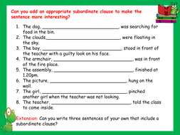 pleting Sentences by Writing Subordinate Clauses Worksheet furthermore Independent and Subordinate Clauses Worksheet for 7th   10th Grade as well Subordinate Clauses by emmabee89   Teaching Resources in addition EYFS   KS1   KS2    plex sentences   Teachit Primary further Clause Worksheet Grade 6 Subordinate Year 3 Relative Clauses in addition  in addition Subordinating Conjunctions Worksheet   Homedressage also  as well Dependent and independent clauses  video    Khan Academy in addition Make A Sentence Kindergarten And Grade Worksheets Match The To moreover Clauses Worksheets   Main and Subordinate Clauses Worksheet also Independent Dependent Clauses Worksheet Worksheets For   Leafsea moreover Subordinate   dependent clause practice additionally diagramming adverbs worksheets furthermore Grammar Clauses Worksheets Subordinate Clause Free Ks And Vocabulary as well KS2   plex sentences   Scholastic. on subordinate clause worksheet year 6