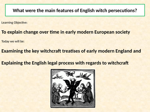 AQA A Level: NEA Component 3: Witchcraft c.1560-1660, Lesson 10 - English witch-hunting