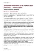 Bridging the gap between GCSE and A-level New Curriculum