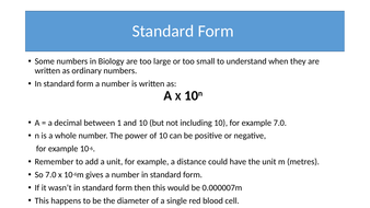 standard form science  Standard Form and Common SI Units in Biology and Science