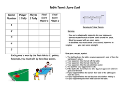 Table Tennis Rules And Score Cards