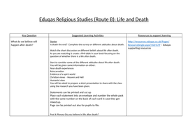 Eduqas Route B Life and Death scheme of work
